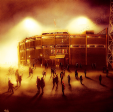 Those European Nights, Manchester Utd Old Trafford Bright Scene- 20'' x 20'' approx poster print